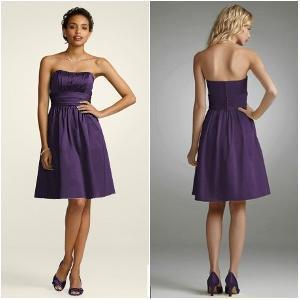 China Purple Strapless Ruffled Short Bridesmaid Dress wholesale