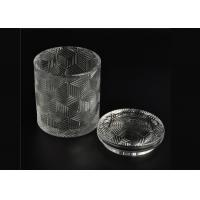 China Exquisite Embossed Pattern Glass Candle Holders Bulk With Lids , Three Different Size wholesale
