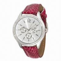 China Girls' fashionable wristwatch, snake veins leather strap/round case w/ stone, mix color strap order wholesale