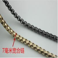 China Delicate novelty design 7 mm gunmetal and gold color metal chain for bag wholesale