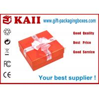 China Red Gift Packaging Boxes With Lids / Pink Bow Ribbon For Decorative wholesale