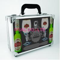 Quality Silver ABS Aluminum Wine Carrying Case With Foam for Protect Wine Bottles for sale