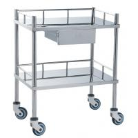 China Movable Medical Clinical Trolley Stainless Steel With Two Shelves And One Drawer wholesale
