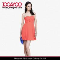 China Orange Coral Strapless Crepe Fit And Flare Midi Party Evening Dress wholesale