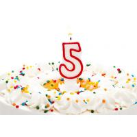China Birthday Candle Number 5 With Red Color Edge , Lovely Candles For Cake Decorating wholesale