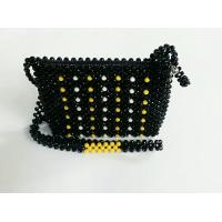 China source factory vintage natural wood bead purse beaded crystal bag Acrylic beads shoulder bag handmade beaded pouch on sale