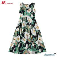 China 89D18024 New Design Fashion Casual Beach Floral Round Sleeveless Midi Women Dress on sale