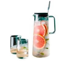 China Lead Free Glass Water Pitcher With Silicone Lid / Spoon 1350ml Capacity on sale