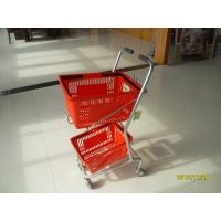 China Small Shop Use Shopping Basket Trolley With 4 Swivel 3 Inch PVC Casters wholesale