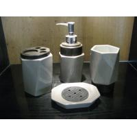 China Home decoration Ceramic Bath Accessories set collections with toilet brush holders wholesale
