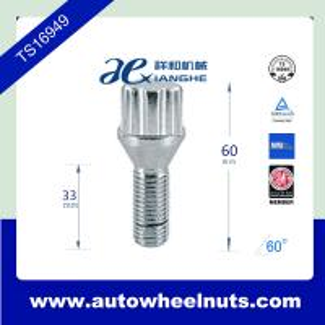China Wheel rim spline lug bolt  with cone seat , 60mm length wholesale