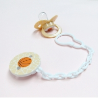 China Liquid Silicone ABS Basketball Baby Soother Chain on sale