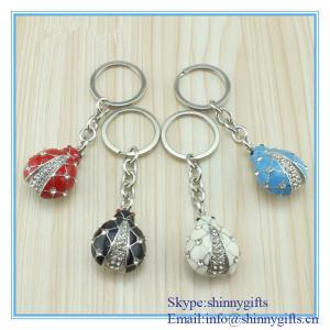 China Shinny Gifts Enamel handmade ladybug shape metal key chain wholesale