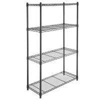 China 4 Tier Carbon Steel Adjustable Mobile Metal Display Racks , Black Powder Coating Easy Assembly  Metal Shelf with Casters wholesale
