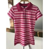China stock clothes for wholesale polo styles slim cutting women's short sleeve color stripe summer shirts garment inventory wholesale