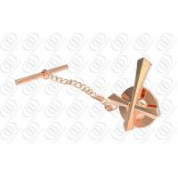 China Rose Gold Plated Jewelry Tie Pins And Clips With Cross Design on sale