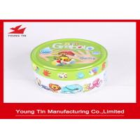 China Small Round Logo Embossed Tin Boxes For Children Cards Games Toy Packaging wholesale