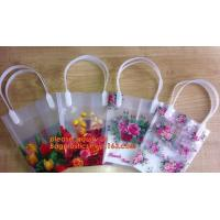 China PP Trapezidal Rectangular Flower Package Bags,PP Flower Plastic Carry Bag with Tube Handle,flower pot bag printing PP pl on sale