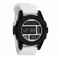 China Plastic Digital Watch with Plastic Case, Rubber Strap, Multifunction Movement, Any Colors Accepted wholesale