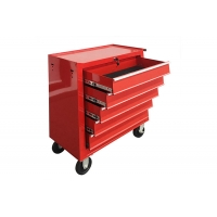 "China 24"" 5 Drawer red toolbox on wheels Spcc Cold Steel Tool Storage With EVA Mat wholesale"