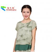 China Fashion Designs Womens Casual Blouses 100% Cotton Material With O Neck Collar wholesale