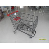 China Large Capacity 4 Wheel Supermarket Shopping Trolley With Red Handle wholesale