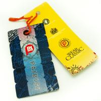 China Bright Color Custom Shaped Clothing Hang Tags , Product Swing Tags For Jeans wholesale