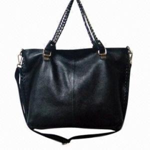 China Black Genuine Cow Leather Handbag , Lady Stylish Leather Handbags on sale