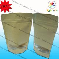 China Stand Up Ziplock Brown Kraft Customized Paper Bags With Window For Snack Packaging wholesale