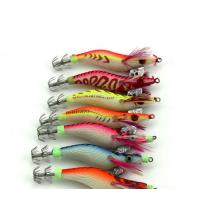 China 7pcs Squid Jig 8CM 7G Wood Shrimp Baits Fishing jig Lure #2.0 Wrapped Prawn Octopus Artifi wholesale