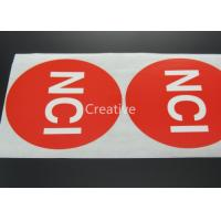 China Pvc / Pp / Vinyl Customized Label Stickers Printed Red Round wholesale