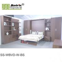 China Europe Style Double Folding Wall Bed With Bookshelf Brown Color Melamine Finish wholesale