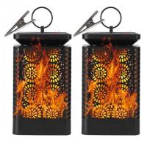 China 96LED Solar Garden Lights Dancing Flame Outdoor Hanging Lantern Solar Powered LED Night Lights on sale