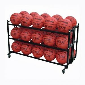 China 3 Tier Basketball Metal Display Steel Double 3 Tier Basketball Storage Metal Display Rack For 30 Balls on sale