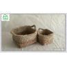 China maize basket ,100% natrual material Rectangle rush and maize hand woven storage basket  set of 2 wholesale