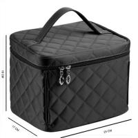 China Black Cosmetic Storage Travel Toiletry Bag Multi Pockets For Brushes , Pearls wholesale