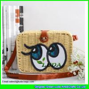 China LDTT-013 big eyes rattan handbag fashion paper straw cosmetic shoulder bags on sale