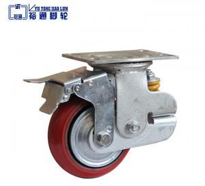 China Scaffolding Casters 8 X 2 Inch Scaffolding Polyurethane Wheel Set of 4 Scaffolding Caster Iron Core PU Wheel Brake Lock wholesale