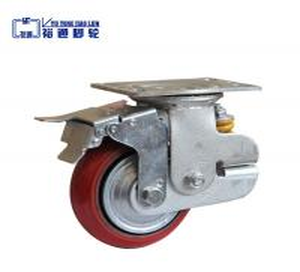 China Single Spring PU Korean Shock Absorbing caster with brake wholesale
