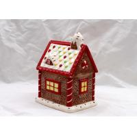 China Cubby Design Ceramic Cookie Jar Dolomite Red Christmas Decoration Food Jar With Lid wholesale