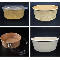 China Customized 1300ml Kraft Paper Bowl Take Away Food Container wholesale