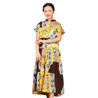 China Traditional Chinese Women'S Dress , Ladies Long Cotton Dresses Stand Neckline wholesale
