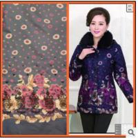 China Middle-aged Cotton Down Printed windbreaker Cotton fabrics Inelastic wholesale