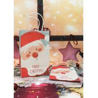 China Foldable Kraft Paper Packaging Bags With Fancy Christmas Santa Picture on sale