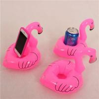 China Mini Cute Red Flamingo Floating Inflatable Drink Can Holder Pool Bath Toys Party on sale