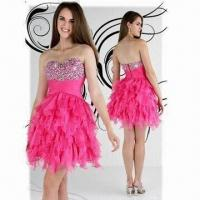 China Hot Pink Morden Design Beaded Prom Dresses, ODM and OEM Orders are Welcome wholesale