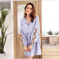 Fashion V Neck Embroidery Female Casual Dresses / Striped Long Sleeve Casual Dresses For Women
