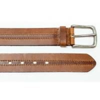 China Mens Brown Leather Jeans Belt Antique Silver Pin Buckle Leather Belt wholesale