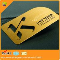 China Golden Color Metal Business Card cutting out logo wholesale