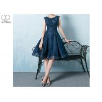 China Navy Blue Lace Short Length Prom Dresses Knee Length Sleeveless And Beading on sale